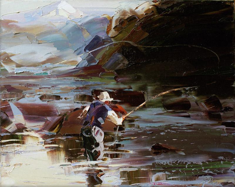 Fly fisherman artwork