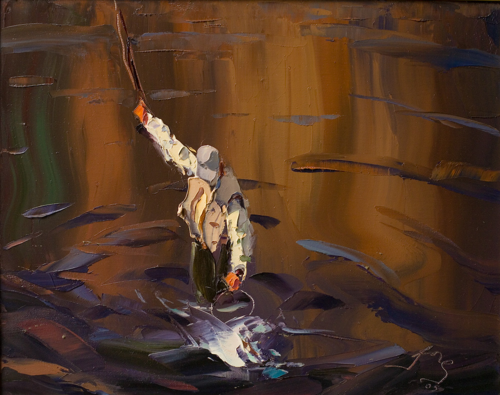 Fly fisherman with catch artwork