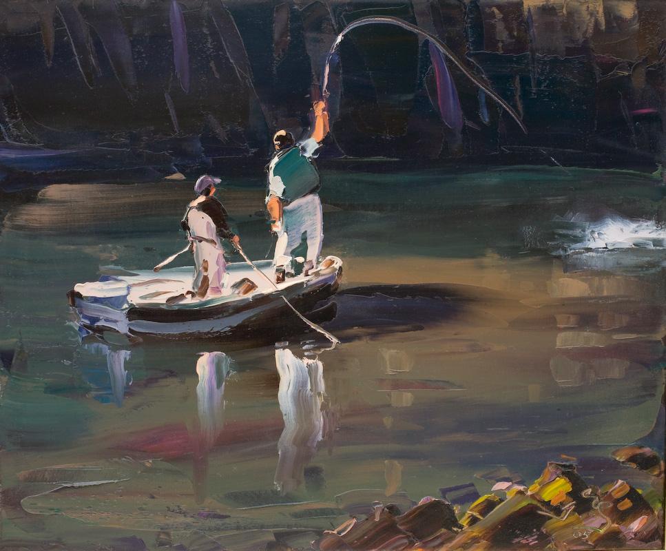 Fly fishermen in boat artwork