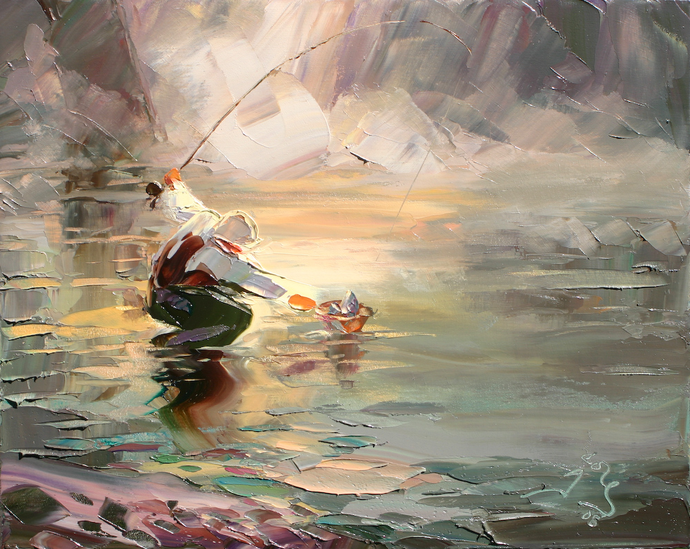 Art of fisherman with catch