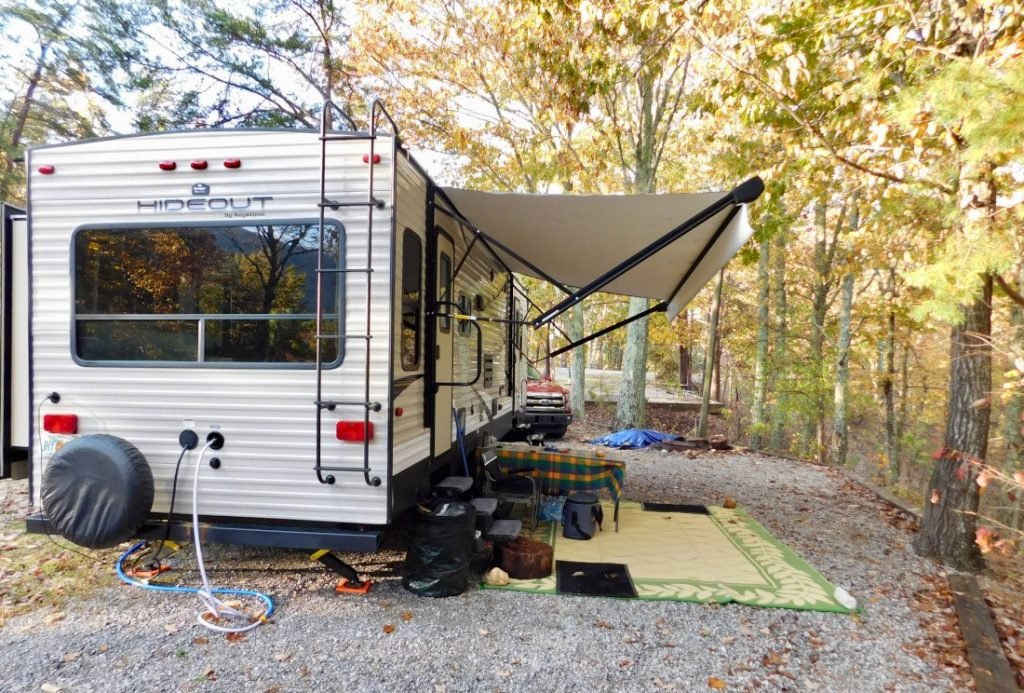 Travel trailer at campsite