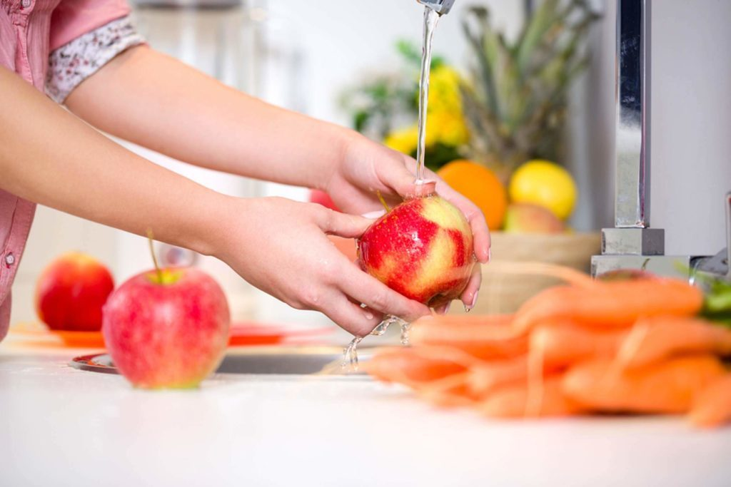 cleaning fruit of pesticides
